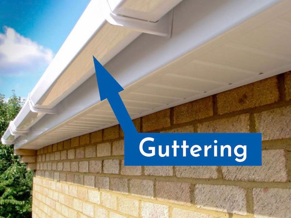 This image points out where the gutter fits into a roofline construction