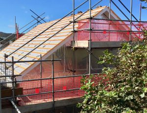 Gable end being prepared