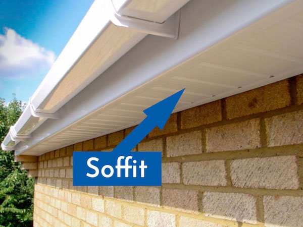 This image points out where the fascia board fits into a roofline construction