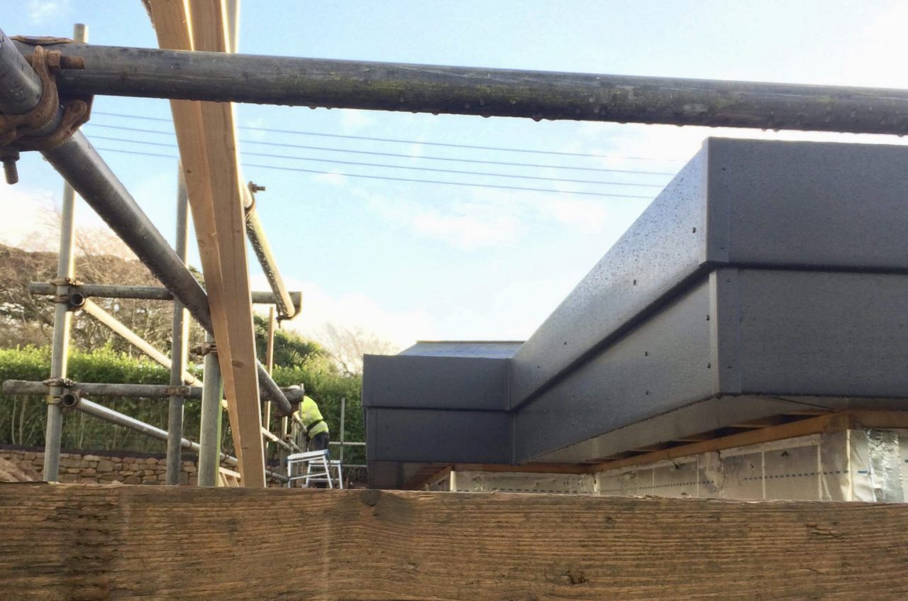 Anthracite Grey Fascias And Soffits For A Flat Roof In