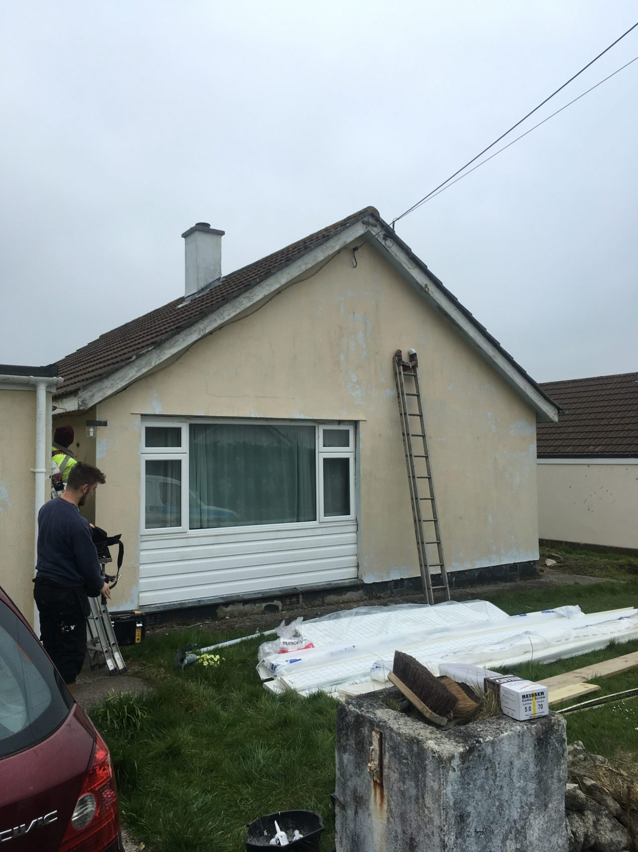 white replacement fascias, soffits and square guttering in Helston