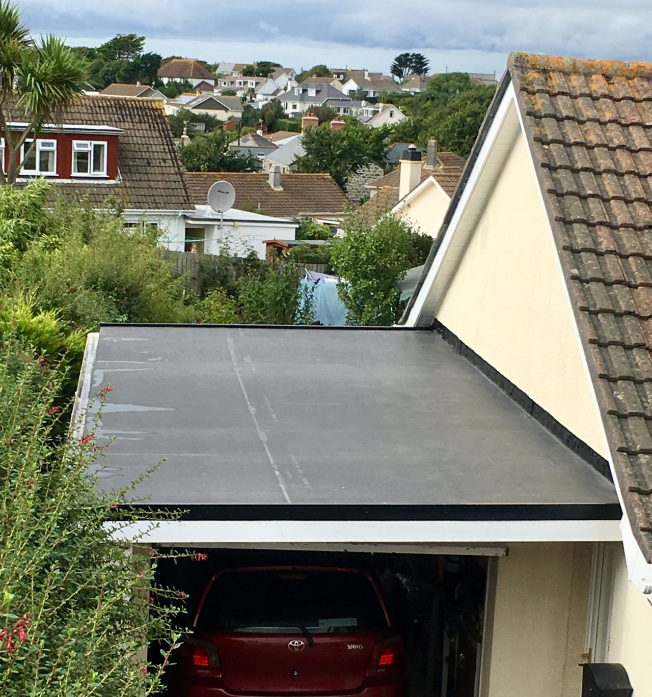 finished Firestone epode flat roof.