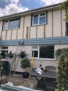 Battens in place for the cedral shiplap cladding at a property in Helston